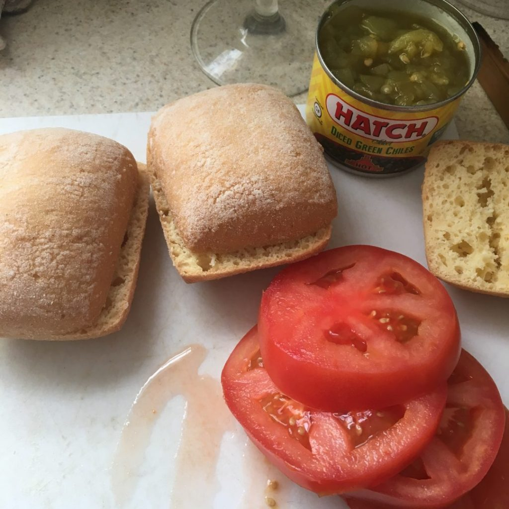 Gluten-free bread, tomatoes and green chile