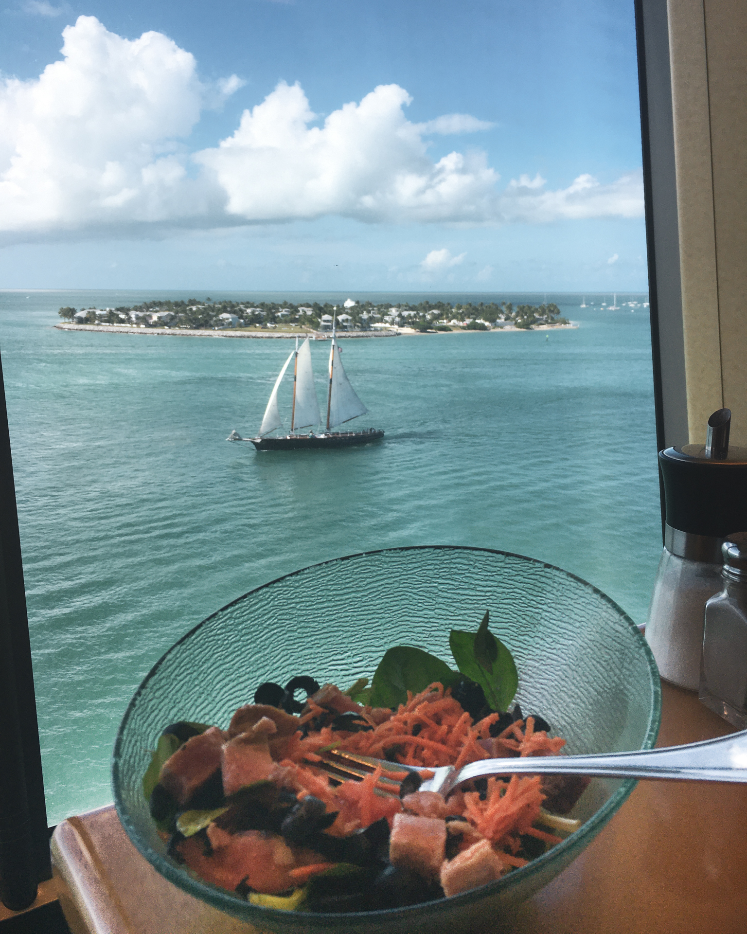 Cruise meal with a view