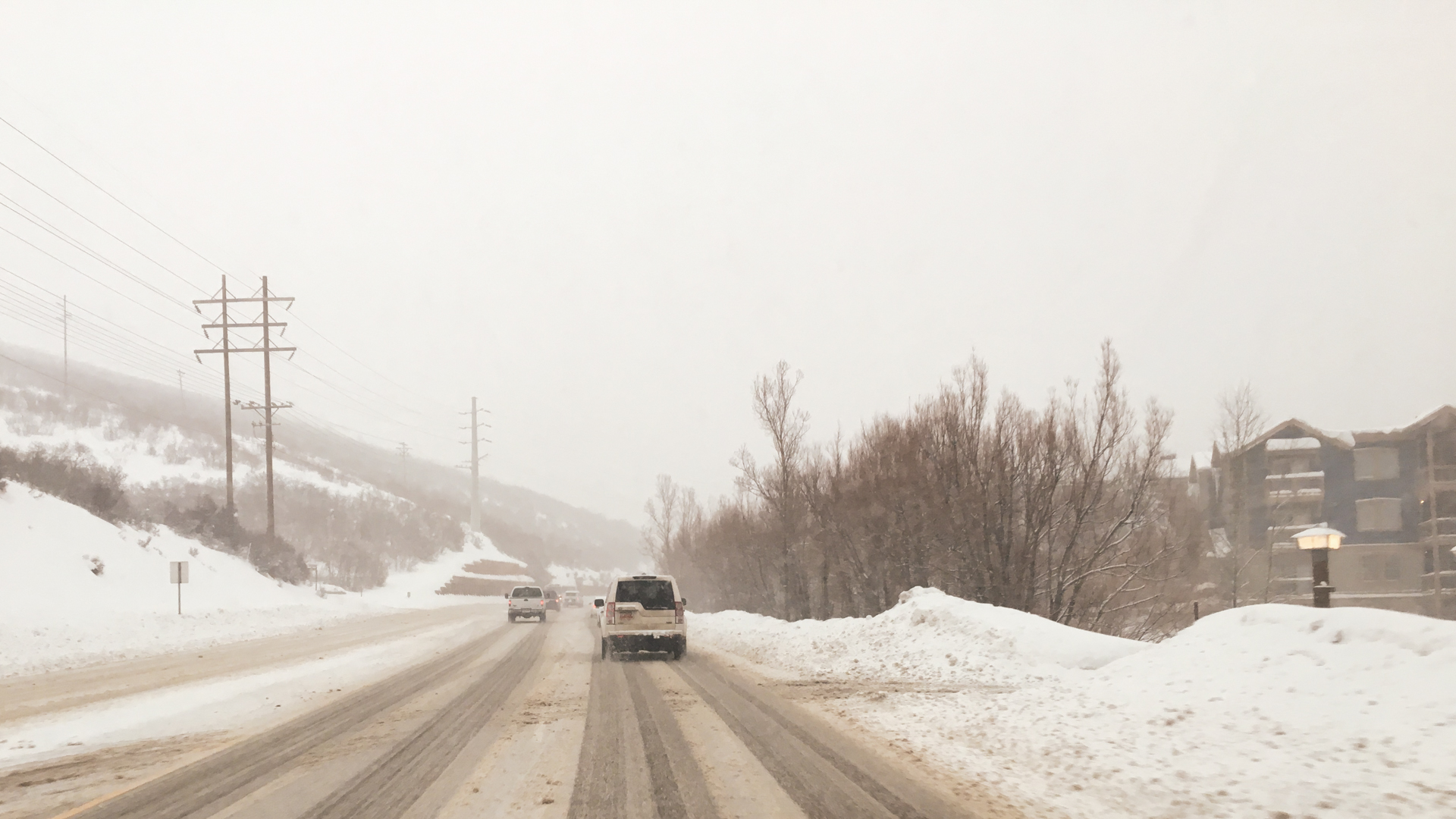 road travel to the mountain for a day of skiing