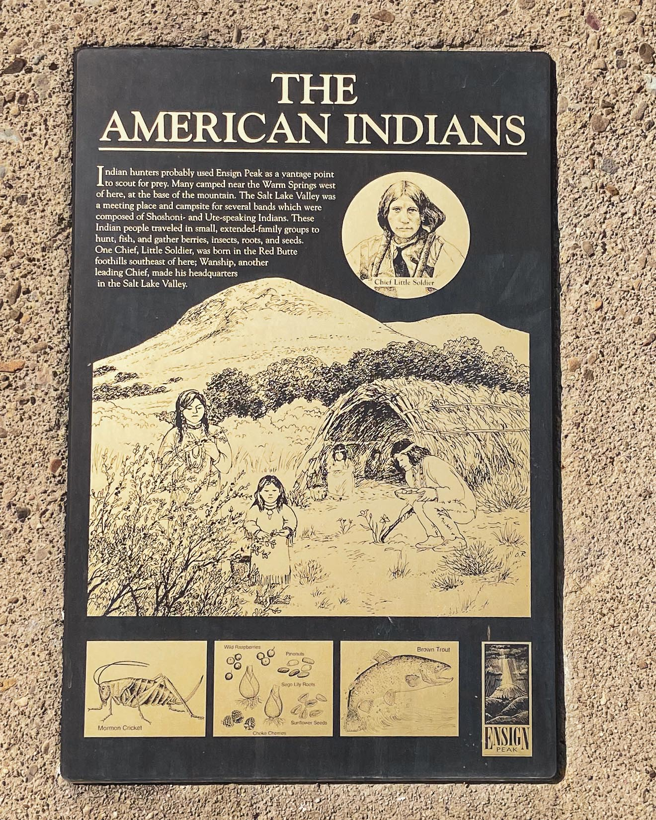 """Problematic text on this hike plaque reads: """"...Indian hunters probably used Ensign Peak as a vantage point to scout for prey..."""""""
