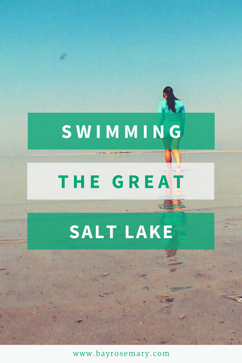 """Image for Pinterest with text """"swimming the great salt lake"""""""